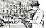 saksofonista na ulicy w Paryżu - 43252476