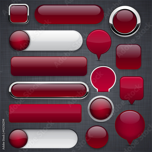 Poster  Wine red high-detailed modern buttons.
