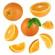 Fresh orange collection over white background