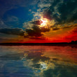 lake at the sunset