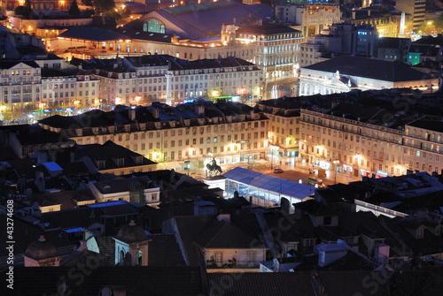 View over Rossio in Lisbon Canvas Print