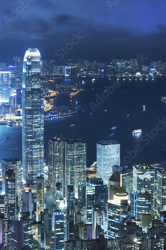 View of Victoria harbor from the peak at Hong Kong Plakat