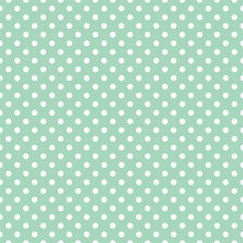 Polka Dots On Mint Background Retro Seamless Vector Pattern