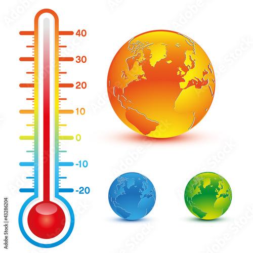 Photo planète et thermomètre