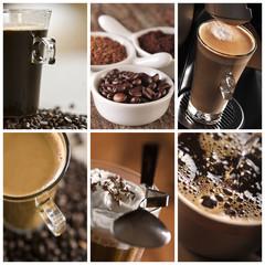 Panel Szklany Do kawiarni Kawa - kolaż
