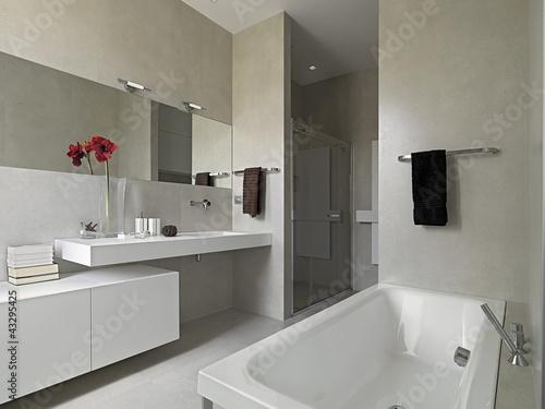 Bagno moderno con vasca e box doccia in muratura - Bagni moderni ikea ...