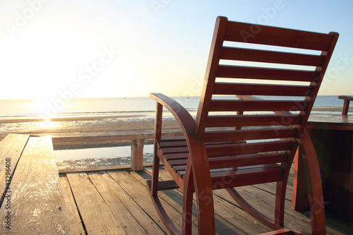 Plissee mit Motiv - Rocking Chair at the terrace, Sunrise