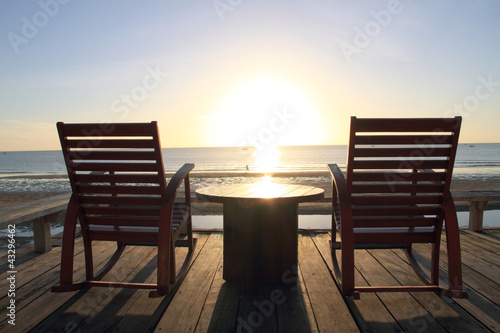 Foto-Rollo - Rocking Chair at the terrace, Sunrise