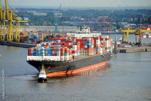 Fotografía  Containerschiff, Hamburger Hafen, Export, Import, Elbe, Hamburg