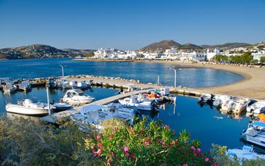 Port in Parikia on Paros island in Cyclades, Greece