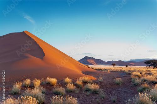 Fotografie, Obraz  Beautiful sunset dunes Namib desert, Sossusvlei, Namibia