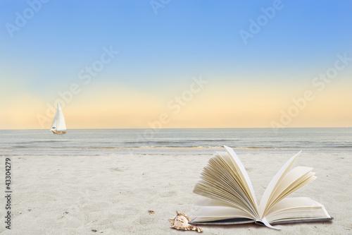 Foto-Schiebegardine Komplettsystem - Ruhe am Strand (von Carmen Steiner)
