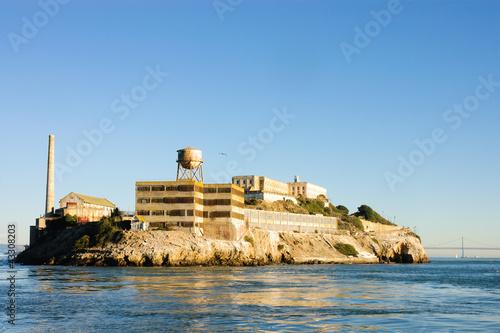 Alcatraz island in San Francisco Bay at sunset Canvas Print