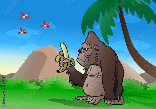La pose en embrasure Forets enfants gorilla observe banana