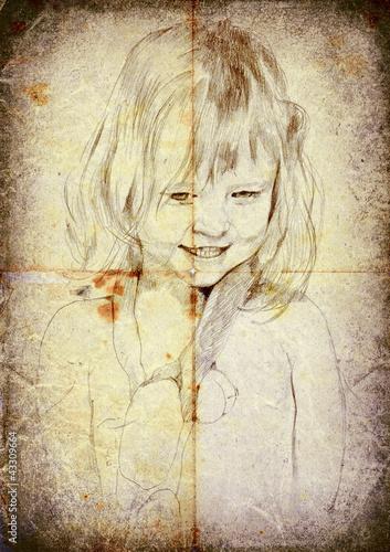 przetwarzanie-vintage-rysunek-odreczny-mala-dziewczynka