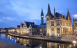 canvas print picture - Gent - West facade of Post palace with the canal in evening