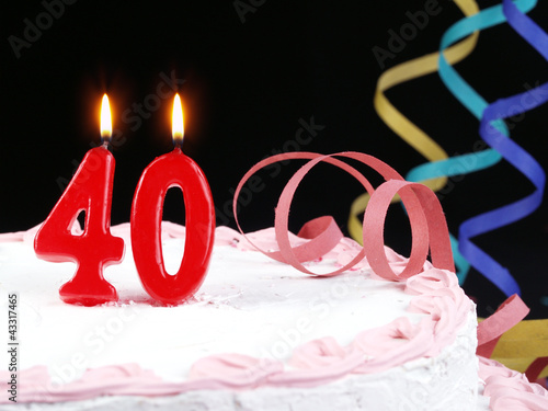 Birthday Cake With Red Candles Showing Nr 40