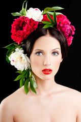 Panel Szklany Do salonu kosmetycznego Girl in a wreath of flowers