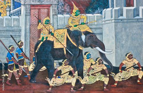 Obraz na plátně Traditional Thai paintings of Ramayana epic in Wat Phra Kaew (Pu