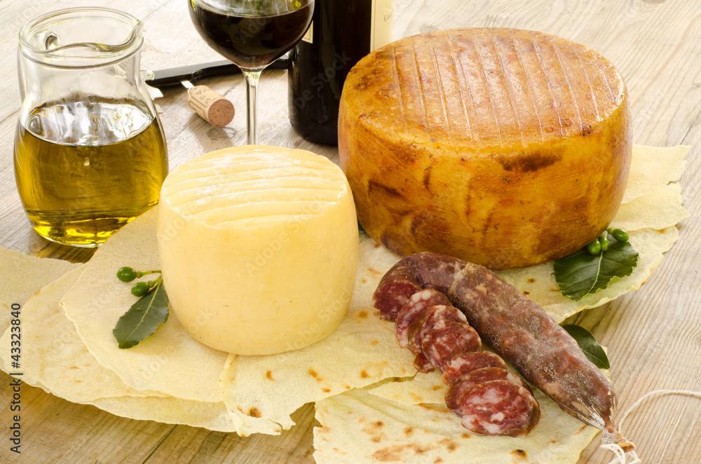 Photo  Formaggi,salsiccia e vino rosso dalla Sardegna