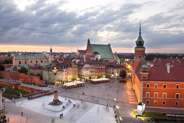 FototapetaRoyal Castle Square in Warsaw old town, at dusk. Poland