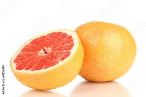 Fotografia  Ripe grapefruit and half isolated on white