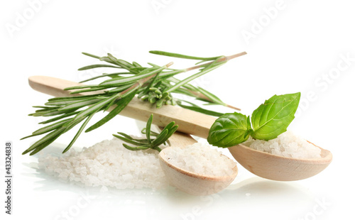 Keuken foto achterwand Kruiden 2 salt in spoons with fresh basil and rosemary isolated on white