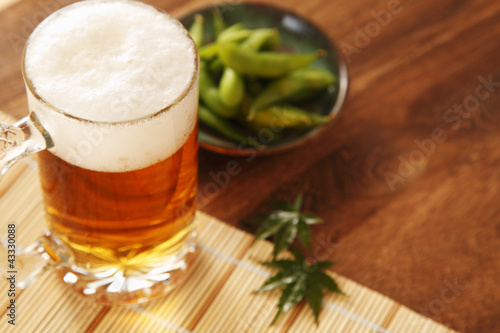 Aluminium Prints Beer / Cider ビールと枝豆