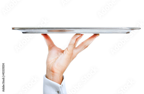 Leinwand Poster Waiter's hand holding a plate