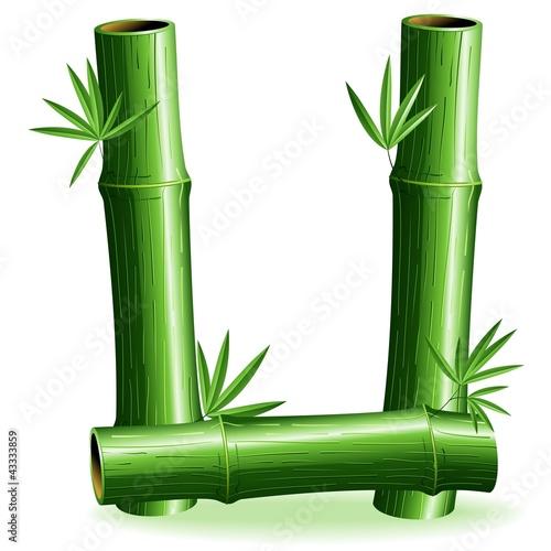 Foto auf AluDibond Ziehen Bambù Lettera U-Bamboo Logo Sign Letter U-Vector