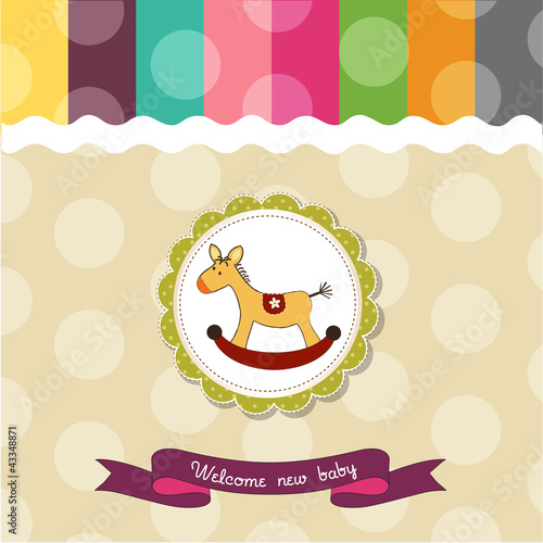baby shower card with rocking horse Poster