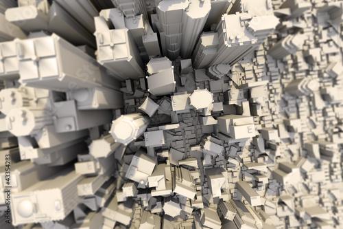 Großstadt Downtown tilt shift 3D