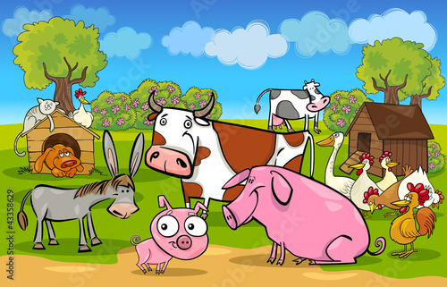 In de dag Boerderij cartoon rural scene with farm animals
