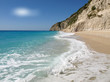 Beautiful summer white Egremni beach on Ionian Sea