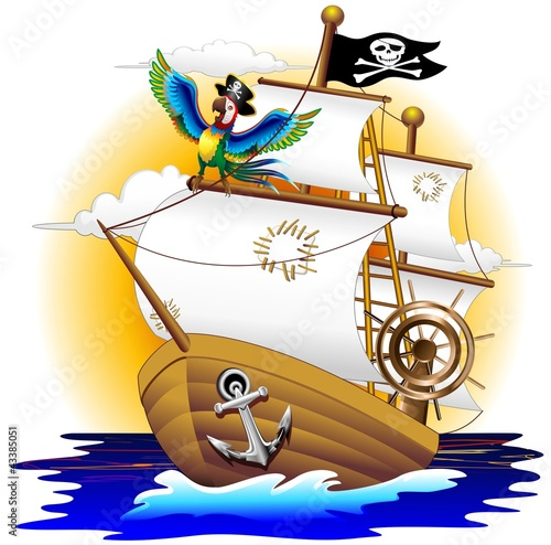 Fotografie, Obraz  Nave Pirata con Pappagallo-Pirate Ship and Cartoon Macaw