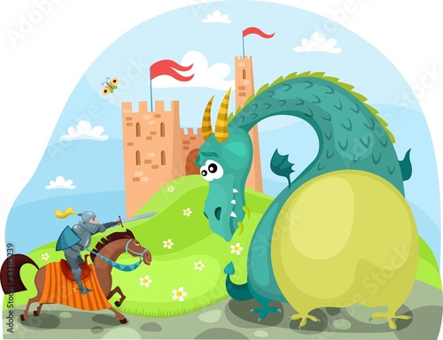 Poster de jardin Chevaliers dragon and knight