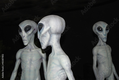 Foto auf AluDibond UFO Three Aliens