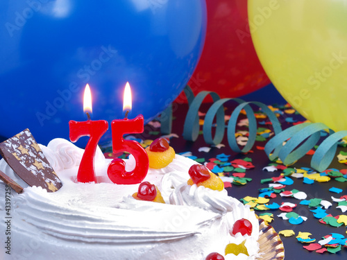 Birthday cake with red candles showing Nr. 75 Poster
