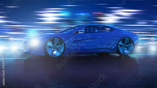 fototapeta na lodówkę Elektro Hybrid Sportwagen Nachts 3d