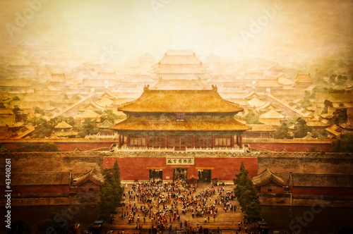 Spoed Foto op Canvas Beijing Forbidden city vintage view, Beijing, China