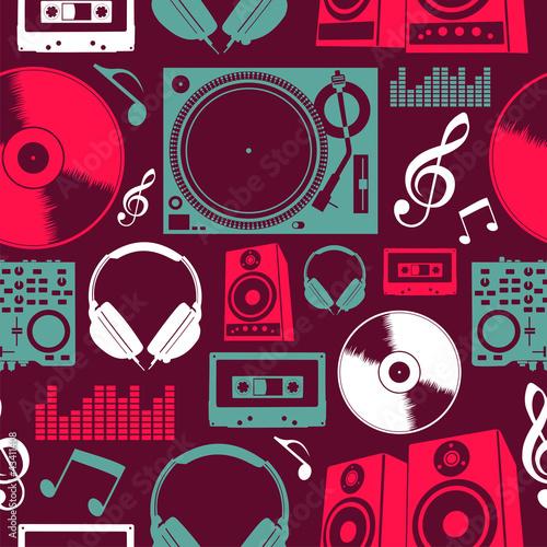 Plakat na zamówienie Music icons seamless pattern