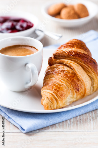Fotografie, Obraz  Croissant and a cup of espresso