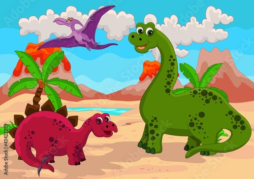 Ingelijste posters Dinosaurs Dinosaurs Family with background