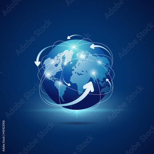 Fotografie, Obraz  Modern globe connections network design, vector
