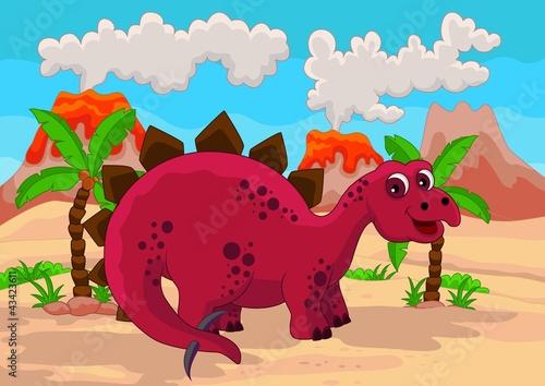 Tuinposter Dinosaurs funny cartoon dinosaur