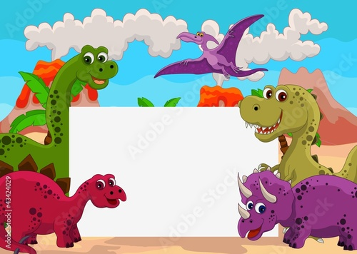 Cadres-photo bureau Dinosaurs funny dinosaur cartoon with blank sign
