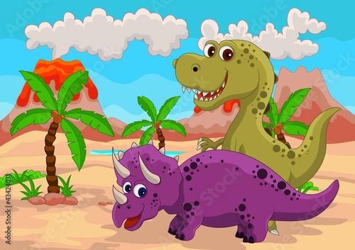 Spoed Foto op Canvas Magische wereld funny dinosaur cartoon
