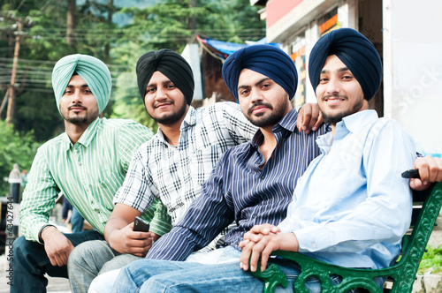 Fényképezés  group of young indian man sikh
