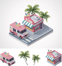 Vector Isometric Ice Cream Sto...