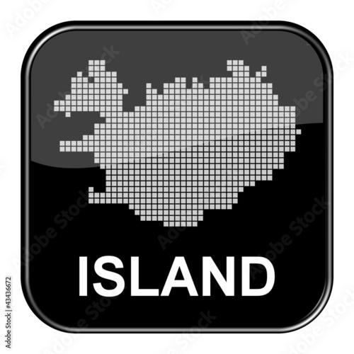 Foto op Aluminium Pixel Glossy Button schwarz - Karte von Island